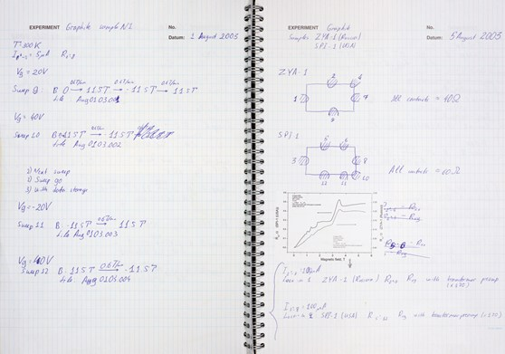 Two pages of research notes from a notebook belonging to a graphene researcher