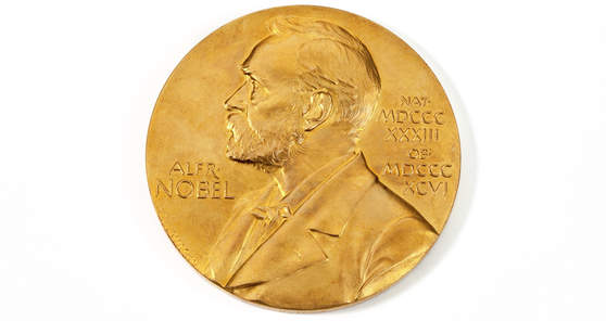 Colour photograph of a nobel prize medal replica