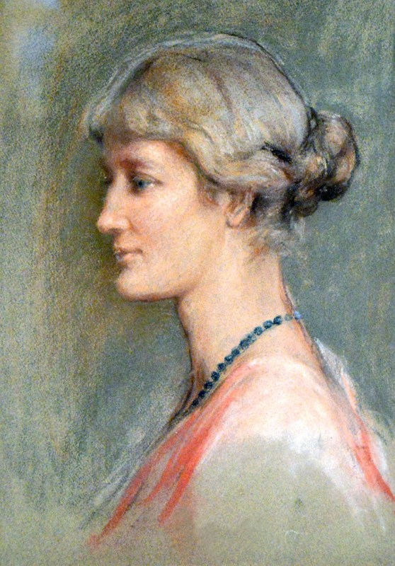 Pastel portrait illustration of Blanche Thornycroft