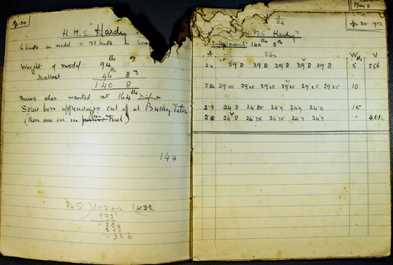 A notebook with records of the testing of boat hull design