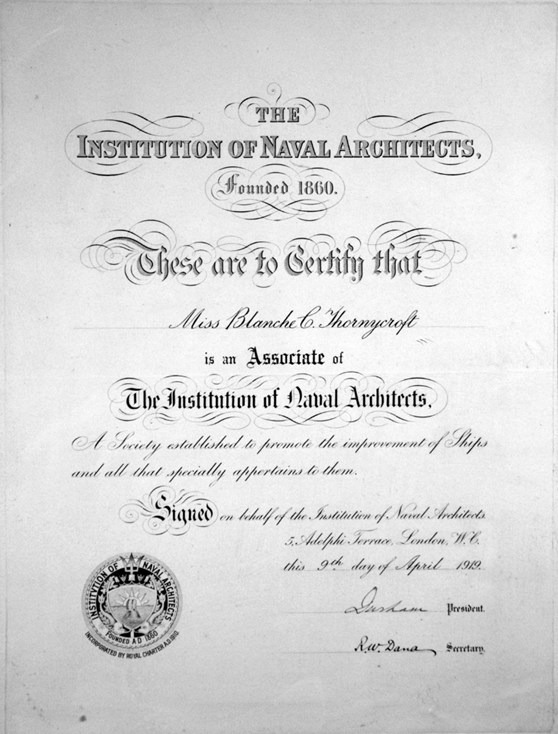 A certificate declaring that Blanche Thornycroft is an associate of the Institution of Naval Architects