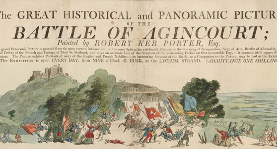 Colour illustrated advertisement for a viewing of a panoramic painting of the Battle of Agincourt