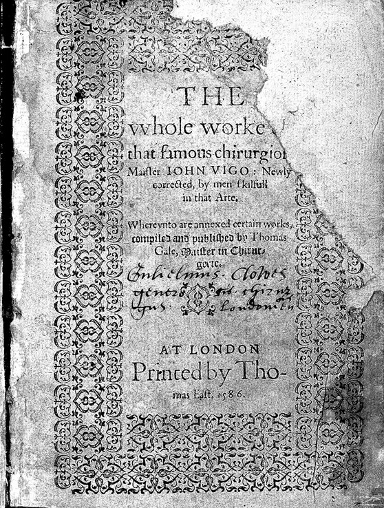 Front cover of a book by John Vigo from 1586