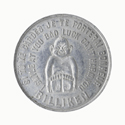 Colour photograph of the front side of a coin amulet for good luck