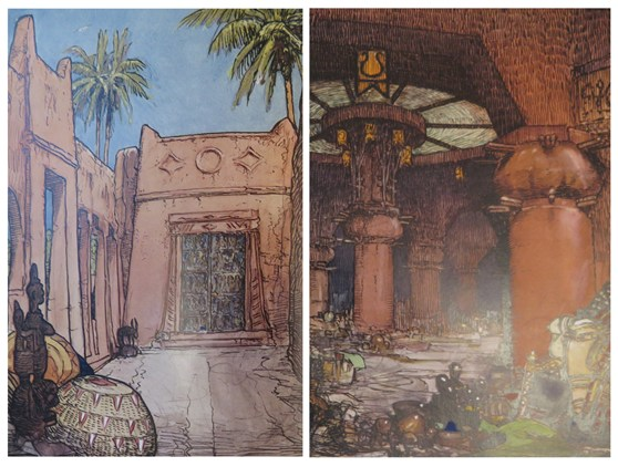 Painted illustrations of the interior of a Gold Coast walled city
