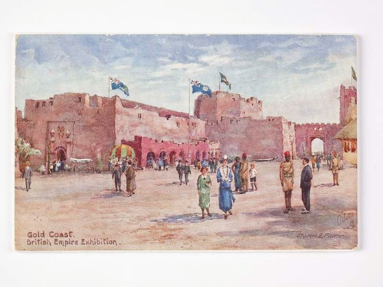 Souvenir postcard of the interior of a Gold Coast walled city