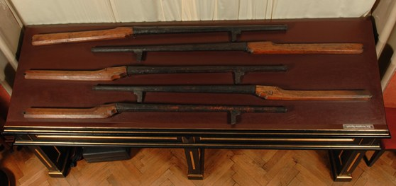 Museum table displaying five rifle style firearms from the seventeenth century