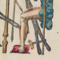 Book illustration showing typical war wounds and treatment from 1628
