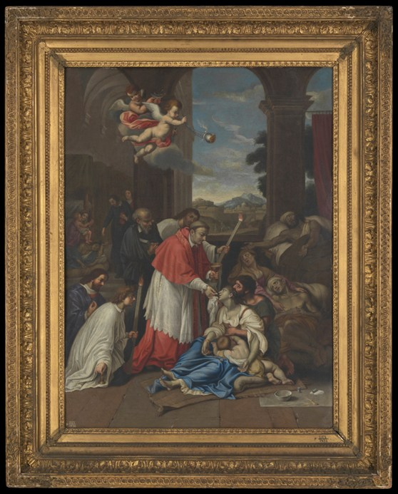 Oil painting of Carlo Borromeo ministering to plague victims