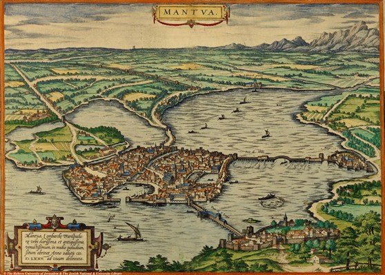 Hand illustrated map of Mantua from 1575