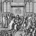 Black and white engraving showing a scene where King Charles Second attempts to cure subjects of scrofula