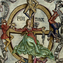 Hand coloured wood cut depicting the lady Fortuna with her wheel