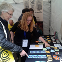 Colour photograph of the medical history card game being demonstrated