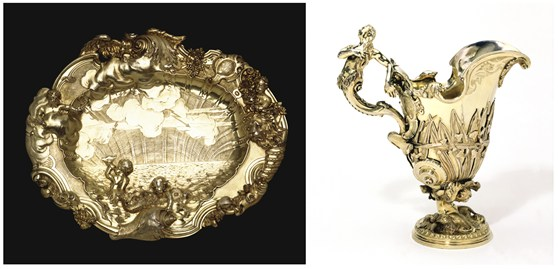 Colour photographs of a silver gilted dish and ewer from the eighteenth century