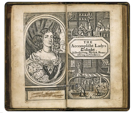 Book entitled th Accomplished Ladies Delight in preserving physic beautifying and cookery