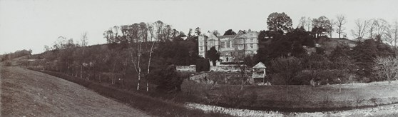 Panoramic black and white photograph of Fountains Hall and surrounding land in North Yorkshire