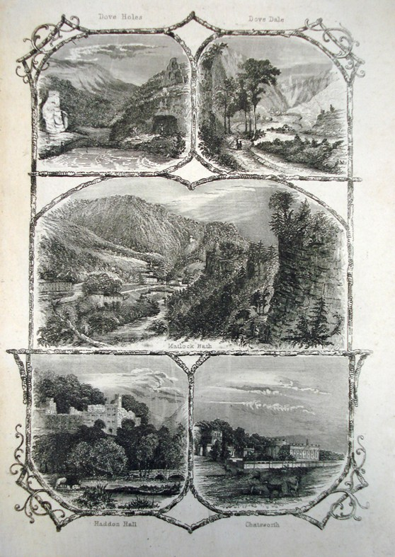 Page of a book displaying plate engravings of scenes of Dove Holes and Dove Dale and Matlck Bath and Haddon Hall and Chatsworth