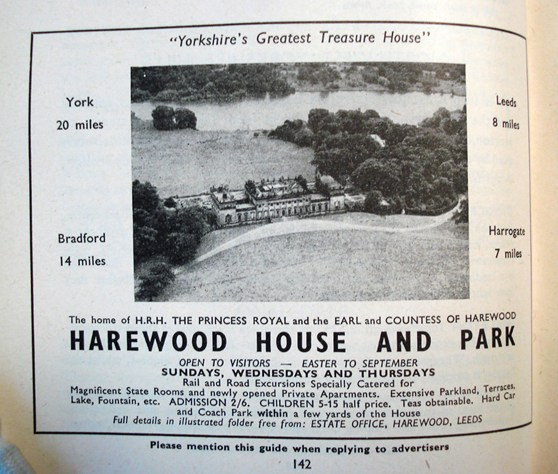 Advertisment for Harewood House and Park in a British Railway tourist booklet from nineteen fifty seven