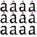 Beowolf typeface showing that each character repeats its shape after ten variations
