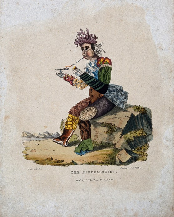 A hand coloured aquatint artwork entitled The Minerologist