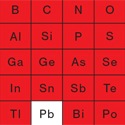 The periodic table showing elements in red used in the average iphone.