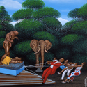 Oil painting depicting the struggle between a museum and a native population to retain cultural artefacts