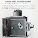 Page from a 1908 magazine showing an illustration of a lantern body for a cinematograph