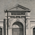 Plate engraving showing the entrance and interior of the Conservatoire des arts et métiers in Paris