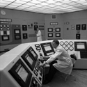 Two photographs of the control room at Dounreay Nuclear Power Station