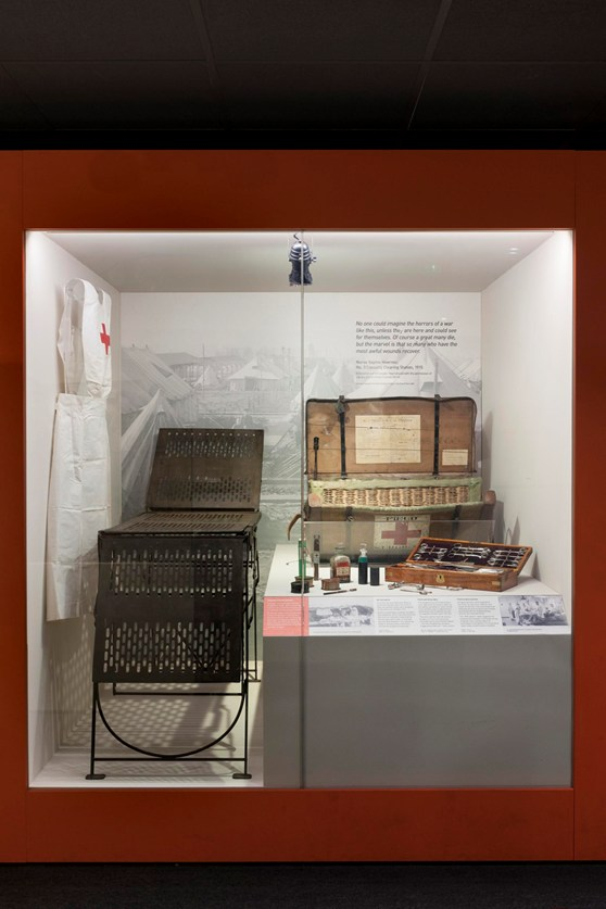 Colour photograph of a Wounded exhibition object display case