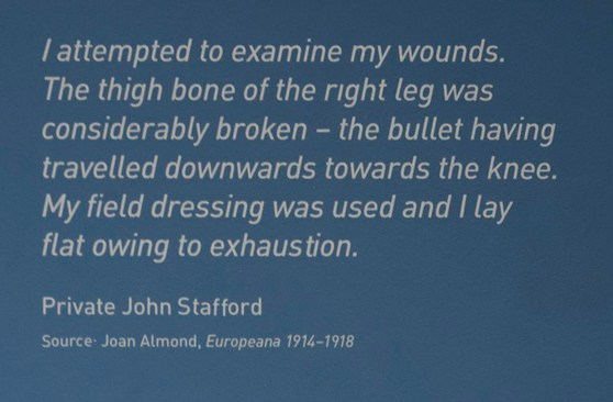 Soldiers quote displayed in the Wounded exhibition
