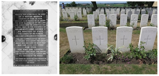 Photographs of the Unknown Soldiers grave in Westminster Abbey and many unknown soldiers graves in a cemetary