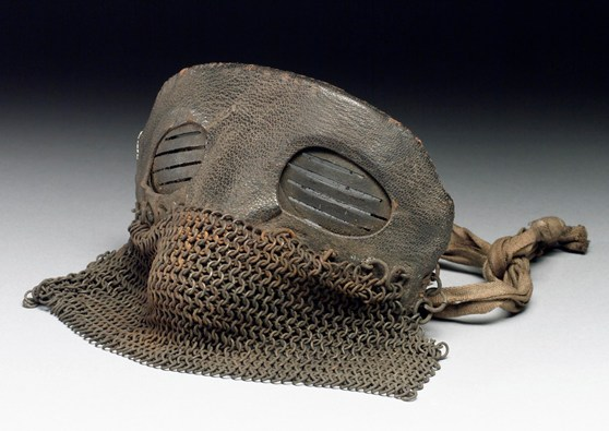 Colour photograph of a tank crew protective mask