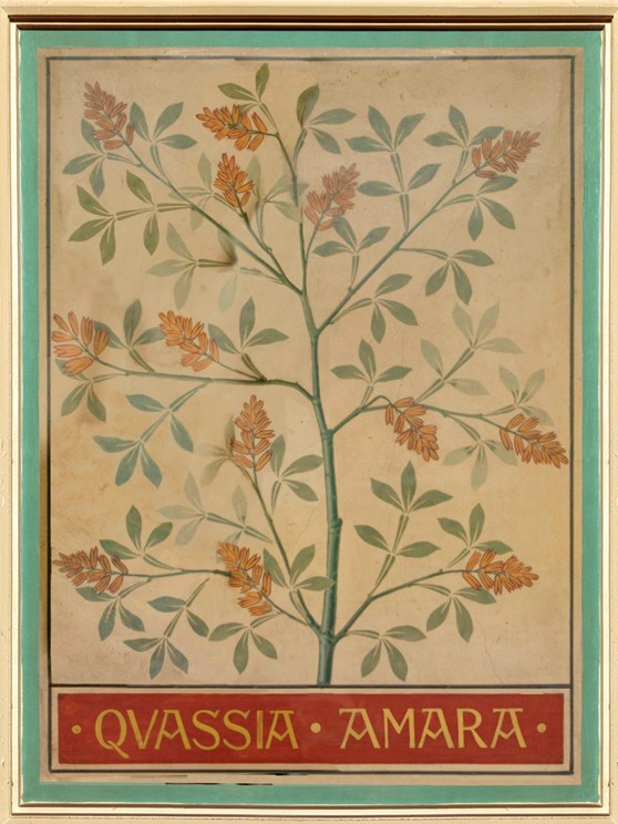 Painted ceiling panel depicting a tree
