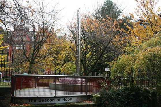 Colour photograph of the Beacon of Hope memorial in Manchester