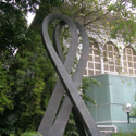 Colour photograph of a sculpture of a ribbon in Hong Kong