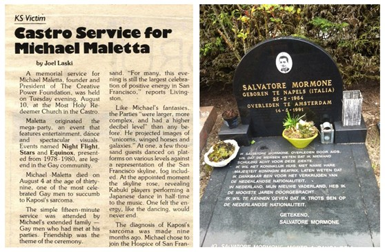 Newspaper cutting of an obituary for Michael Maletta and photograph of the gravestone of Salvatore Mormone