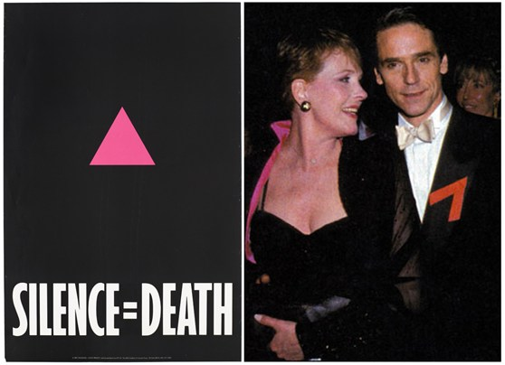 A poster used by the Silence equals Death project that depicts a pink triangle on a black background and photograph of a red ribbon highlighting the AIDS crisis is worn by the actor Jeremy Irons