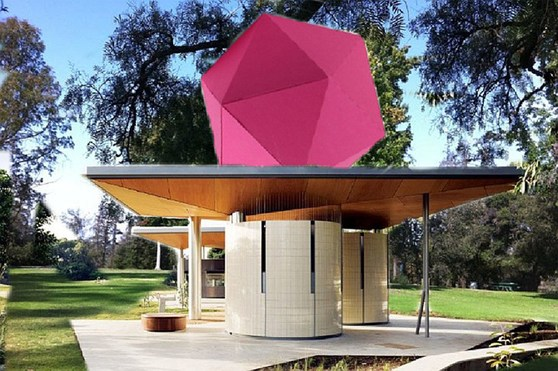 Colour photograph of an outdoor AIDS memorial featuring a 3D geometric structure