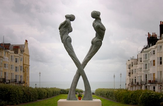 Colour photograph of an AIDS memorial sculpture in Brighton