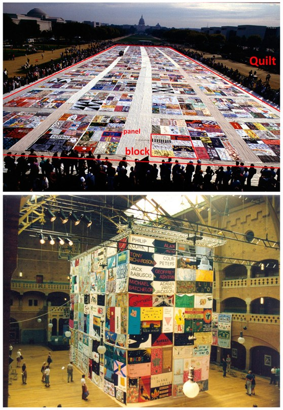Colour photograph of an AIDS memorial quilt on display in Washington DC in North America and Colour photograph of an AIDS memorial quilt on display at a conference in Amsterdam