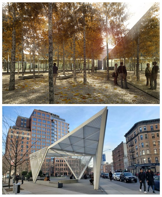 Colour photographs of a proposal for a memorial grove and the AIDS memorial structure in New York