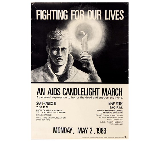 Poster for an AIDS candlelight march in North America in nineteen eighty three